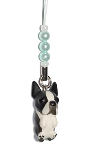 Boston Terrier [ PetLovers ] 92 Dogs Kawaii Strap Charm for Cell Phone and Medias [Blue beads] DN-9003