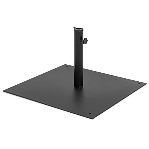 Best Choice Products 38.5lb Steel Square Patio Umbrella Base Stand w/Tightening Knob and Anchor Holes - Black ()