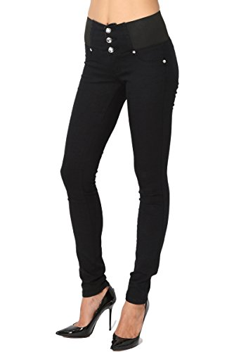 TheMogan Women's Curvy Butt Elastic Waist Comfort Stretch Skinny Jeans Black 7
