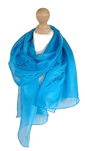Personalized Silk Scarf, Handpainted in Custom Colors, Your favorite Lyric Poetry Quotes Text or Message (royal blue)