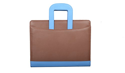 COI BROWN AND BLUE LEATHERITE BRIEFCASE CONFERENCE FOLDER / DOCUMENT FOLDER
