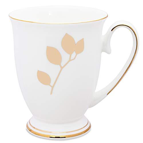 Royal Fine Bone China Mug Gold Leaf Floral Cute Coffee Mug Tea Cup 11 oz-Gold Leaf