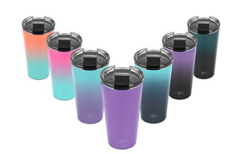 Simple Modern 16oz Classic Tumbler Travel Mug with Clear Flip Lid & Straw - Coffee Vacuum Insulated Gift for Men and Women Beer Pint Cup - 18/8 Stainless Steel Water Bottle -Lilac