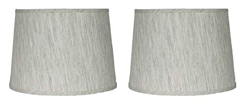 Urbanest French Drum Lampshade,Textured Flax Linen, 12-inch, Spider, Gray Tone, Set of 2 (Tie Dye Lamp Shade)