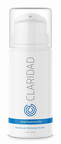 Benzoyl Peroxide 10% Acne Treatment Gel - Pimple Cream & Acne Spot Treatment - Fight Cystic Acne, Back Acne & Body Acne - by Claridad - Paraben & Cruelty Free