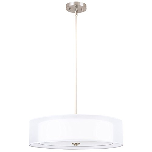 Drum Pendant Light White Shade in US - 7