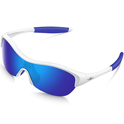Torege Tr90 Flexible Kids Sports Sunglasses Polarized Glasses for Boys Girls Age 3-15 Trk001 (White&blue) (Youth Oakley Sunglasses)