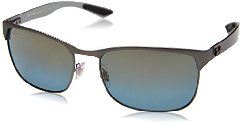 Ray-Ban Men's 0rb8319ch9075j060metal Man Polarized Iridium Rectangular Sunglasses, Gunmetal Top on Matte Gunmetal, 60 - Ray Top Sunglasses Ban Gun
