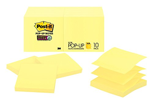 Post-it Super Sticky Pop-up Notes, 2x Sticking Power, 3 x 3-Inches, Canary Yellow, 10-Pads/Pack