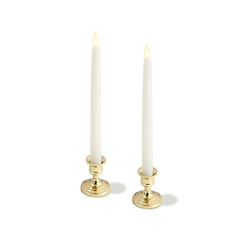 LampLust Brass Finished Taper Candle Holders, 3 Inches, Metal, Traditional Shape, Fits Standard Candlestick Diameters - Set of 2 by LampLust (Image #1)