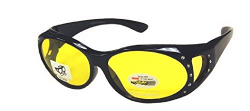 Men and Women Polarized Night Driving Fit Over Lens Cover Rhinestone Sunglasses - Black/Yellow with - Ribbon Glasses