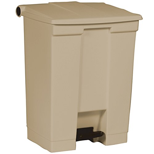 Rubbermaid Commercial Polyethylene 18-Gallon Fire-Safe Step-On Receptacle, Rectangular, Beige (Trash Plastic Receptacle)