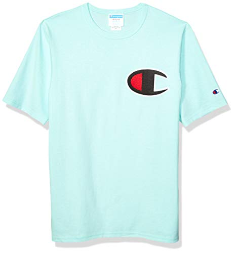 Champion LIFE Men's Heritage Tee, C Patch Applique/Waterfall Green, Medium