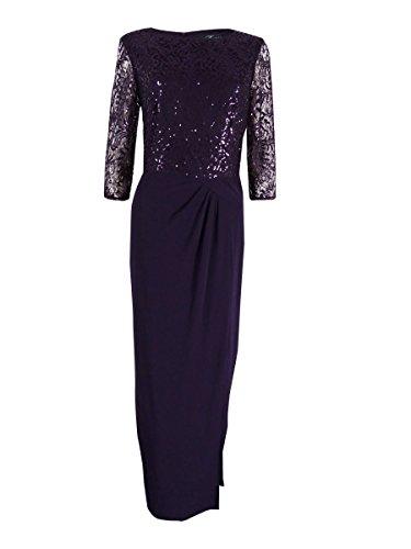 Alex Evenings Women's Long Column Dress with Drape Detail Skirt, Eggplant, 8 (Drape Dress Skirt)