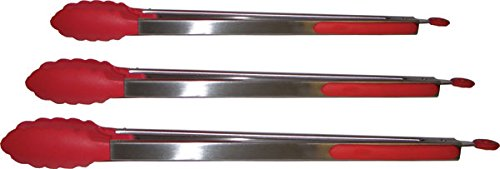 Red Stainless Steel Serving Tongs (Set of 3)