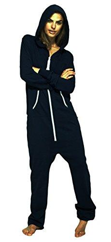 Las mujeres Newfacelook señoras sudadera con capucha simple onesie todas en un único archivo Zip un pedazo mono de felpa con capucha Navy