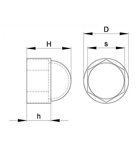 capsula protectora para tuercas M6 10 mm Ajile pl/ástico BLANCO FAH210-L Tapa encajada abombada para pernos y tuercas 100 piezas