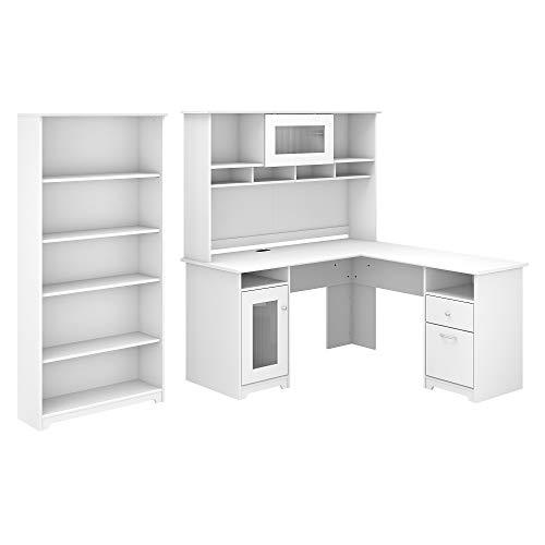 Bush Furniture Cabot 60W L Shaped Computer Desk with Hutch and 5 Shelf Bookcase, White
