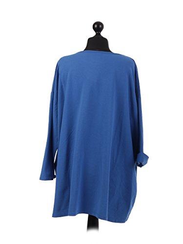 LavishFashionTown Top à Manches Longues - Femme Taille Unique - Bleu - Taille Unique