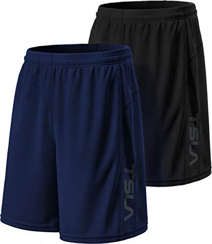 (TSLA Men's HyperDri Cool Quick-Dry Active Lightweight Workout Performance Shorts (Pack of 2), Hyper Dri Dual Pack(mbh22) - Black/Sky, Large )