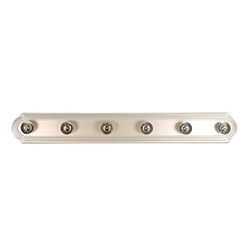 HOMEnhancements- 6-Light Racetrack Vanity Light- Brushed Nickel Finish- Clear Glass- 5
