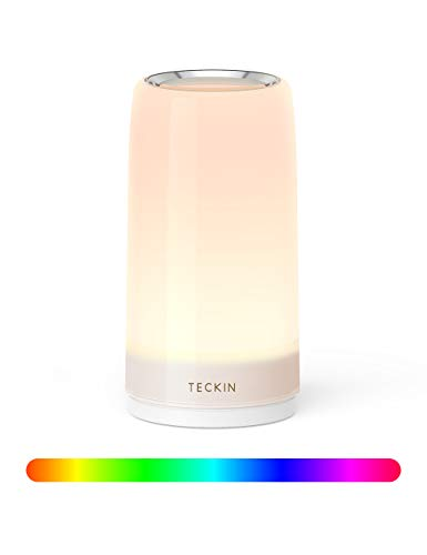 Table lamp LED Touch Bedside Lamp Nightstand lamp Night Lights,TECKIN Desk Lamps Dimmable 2800K-3100K Warm White Light & Color Changing RGB for Bedrooms,Living Rooms and Office
