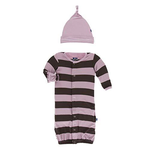 Kickee Pants Little Girls Print Layette Gown Converter & Knot Hat Set - Paleontology Flora Stripe, Newborn ()