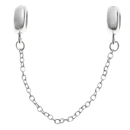 925 Sterling Silver Rubber Stopper Bead Safety Chain For European Charm Bracelet -