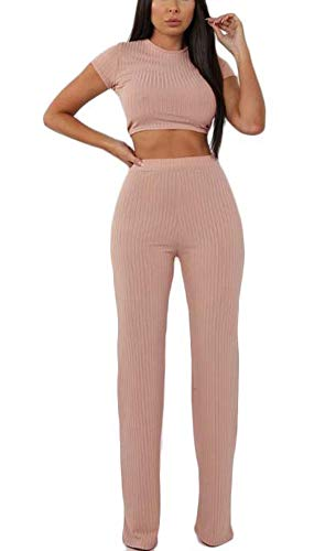 Aleng Women#039s Sexy 2 Piece Outfits Ribbed Crop Top Wide Leg Long Pants Set Jumpsuit