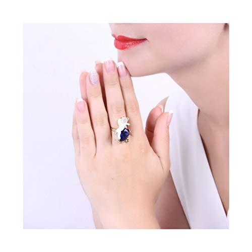 Fashion wonderland White Horse Zodiac Blue Crystal Gilded Ring Hand Painted Enamel Jewelry,Resizable,Blue,Gold-Color (Enamel Ring Wonderland Blue)