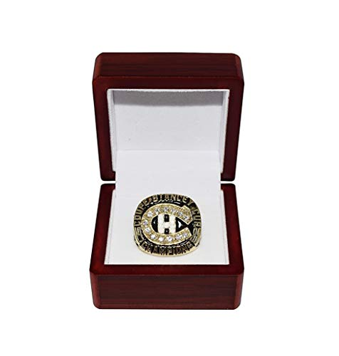 MONTREAL CANADIENS (Patrick Roy) 1986 STANLEY CUP FINALS CHAMPIONS Vintage Rare Collectible High-Quality Replica Hockey Gold Championship Ring with Cherrywood Display Box