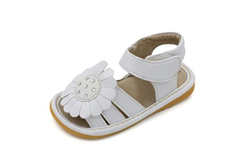 (Little Mae's Boutique White Big Flower Girl Squeaky Sandals Shoes (9))