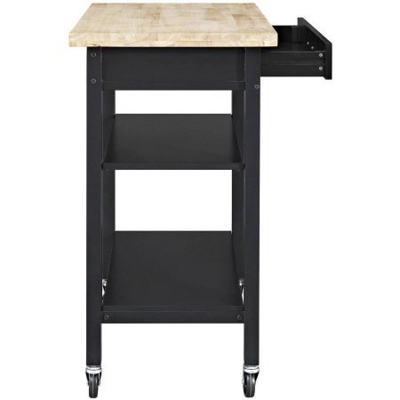 Mainstays Multi-Function Cart with Drawer and Adjustable Shelf (Black)