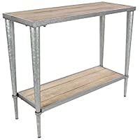 Deco 79 44456 39/32 Metal and Wood Console, 39 x 32, Brown/Silver