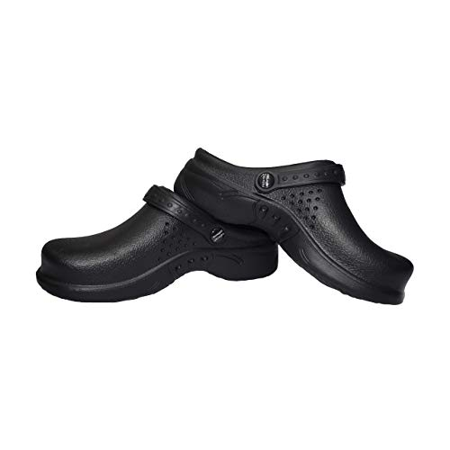 Natural Uniforms Ultralite Women's Clogs with Strap, Medical Work Mule (Size 9, Black)