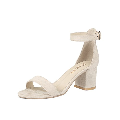 Eunicer Womens Single Band Chunky Heel Sandal With Ankle Strap, Beige, 9 B(M) US (Chunky Band)