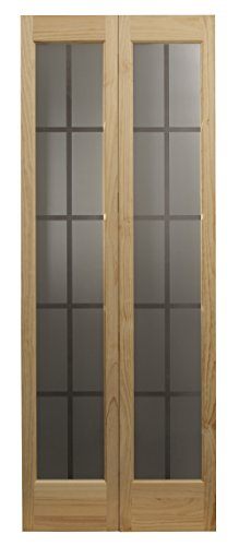 "Pinecroft 837326 Mission Full Glass Bifold Interior Wood Door, 30"" x 80"", Unfinished"
