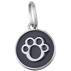 liuqingwind Pet Leash,Dog Cat Name Phone Number Engraved Collar Enamel Paw Round Pendant Pet ID Tag - Black