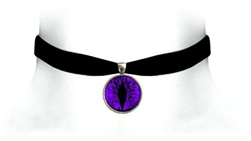 Victorian Vault Cat Dragon Eye Black Velvet Choker Steampunk Gothic Pendant Necklace (Purple)