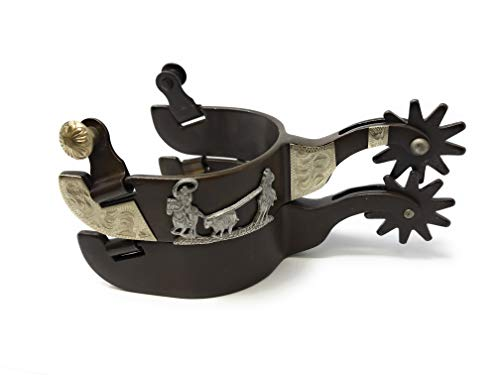 AJ Tack Wholesale Team Roping Roper Western Show Spurs Antique Brown Color Mens 10pt Rowels from AJ Tack Wholesale