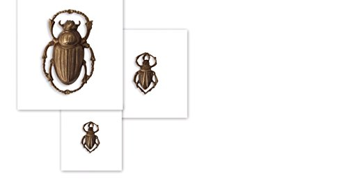 (Vintaj Scarabs, 1 large (32x30mm) Connector/drop and 2 small (18x11mm) charms.)