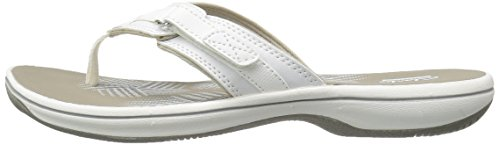 CLARKS Women's Breeze Sea Flip Flop, New White Synthetic, 9 M US by CLARKS (Image #13)