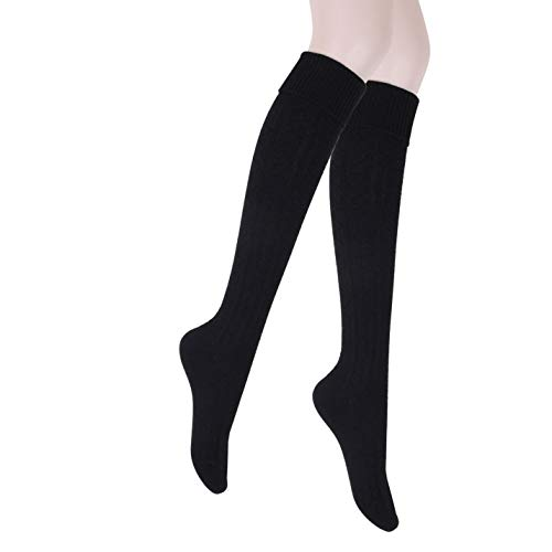 JET-BOND Thick Wool Woollen Cashmere Thigh High Knee Socks Warm Stockings Knit Sweater Thickening Leg Warmers FS03 (Thick Black)