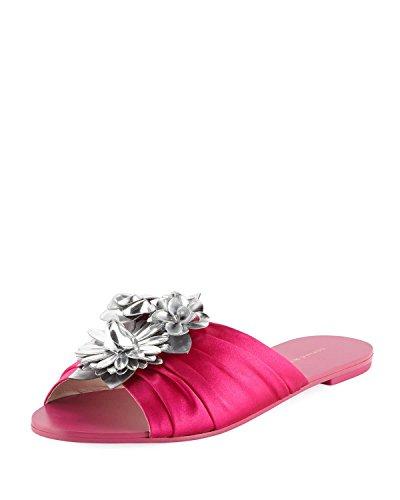 SOPHIA WEBSTER Lilico Glitter Ruched Satin Slide Sandals (6.5) Fuschia ()