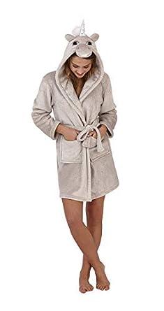 fc7a94488dd070 Hari Deals Damen Mädchen Neuheit Flanell Fleece Kurz Einhorn Robe mit Kapuze  Bademantel mit Kostenlosen Paar