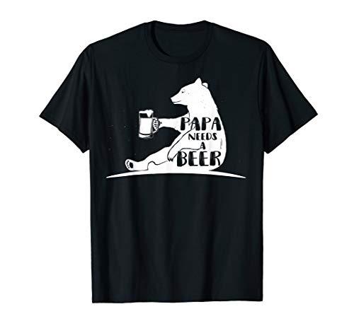 (Mens Papa Needs A Beer Funny Drinking Shirt Papa Bear)