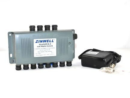 Zinwell 4x8 multi-switch with AC/DC Module Model:MS4X8WB-Z