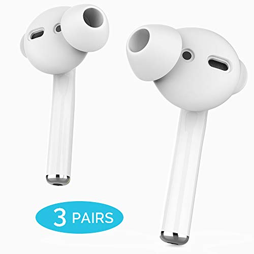 AhaStyle 3 Pairs Earbuds Cover Anti-Slip Ear Tips Silicone Compatible with Apple AirPods 2 & 1 or EarPods-Not Fit in The Charging Case(3 Pairs Small, White)