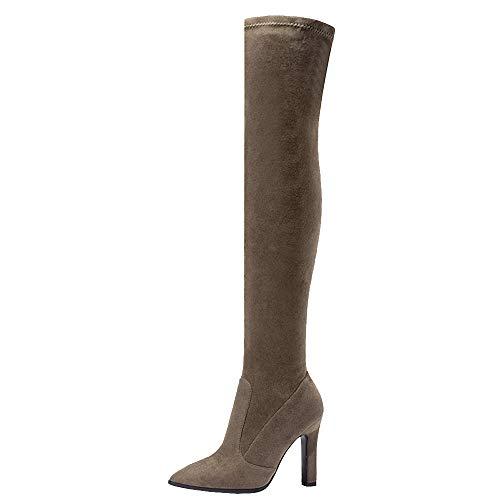 On Moda Block Mujer Largas 3 Pull Zanpa caqui Botas Heels 0nfBxqw4