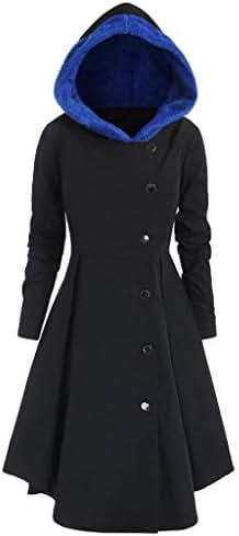 NOMUSING Hoodie Sweatshirt Dress for Women Plus Size Asymmetric Fleece Jumper Single Breasted Long Drape Buttons Coat
